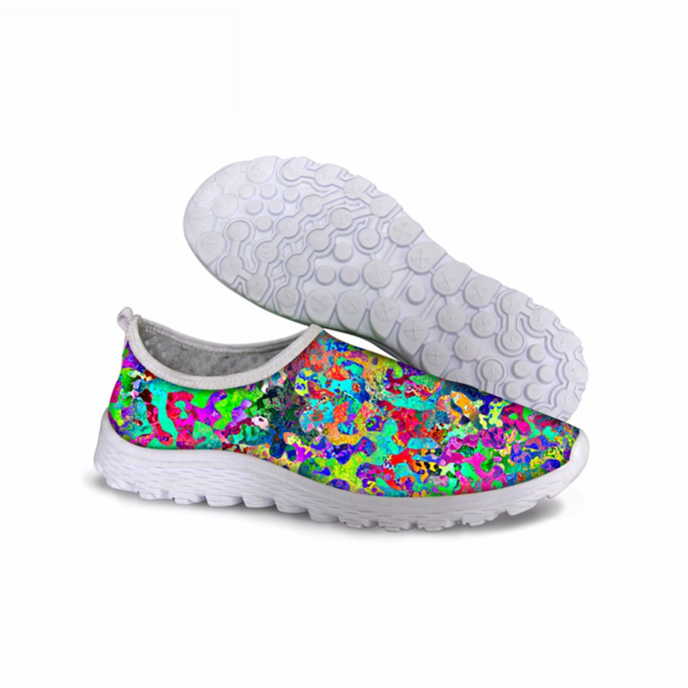 Noisydesigns Deep-color printing 2018 spring fashion outdoor sneakers for girls women shoes summer autumn mesh air walking sport