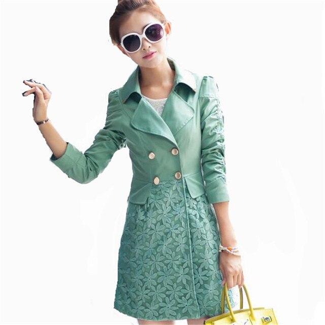 M-2xl 2016 nueva corea da vuelta abajo doble de pecho Lace Patchwork gabardina Pocket mujeres del resorte largo delgado Outwear ZS870