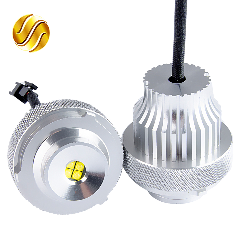 flytop LED Marker 2*40W 80W Angel Eyes for CREE LED Chips White 2 Pieces(1 Set) for E60 E61 LCI Halogen Headlight