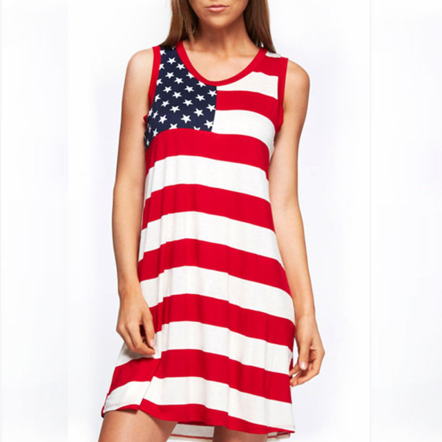 1153fa7263e2 Women Fashion summer dress American Flag Printed Stripe Dresses Casual  stripe Sleeveless mini Dress 2019 Beach party vestidos