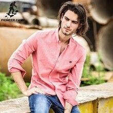 Pioneer лагерь Новая мода осень-весна мужская рубашка с длинным рукавом повседневная хлопок марка одежды рубашки мужчин slim fit мужской роскоши рубашка