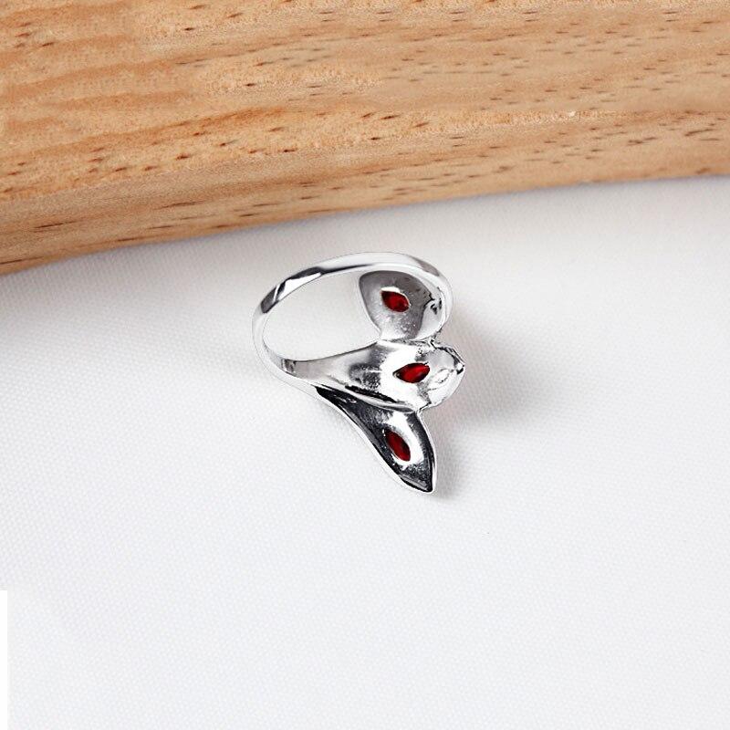 Bague grenat synthétique 925 argent Sterling anillos pierre rouge Punk mariage à la mode S925 Thai argent anneaux pour femmes bijoux - 4