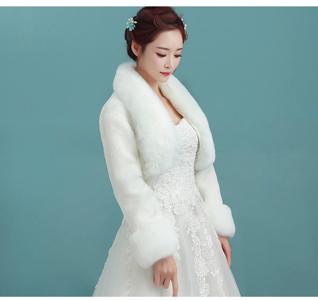 Warme Langarm Braut Wraps Winter Hochzeitskleid Bolero Schalshrug ...
