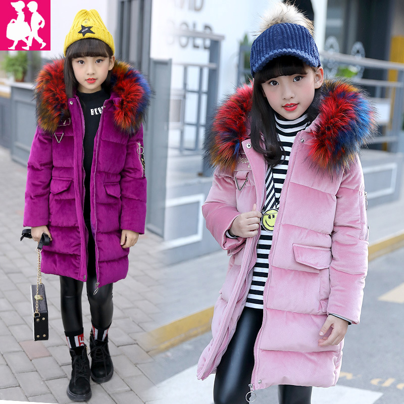 Girls Winter Coat Casual Warm Long Thick Hooded Jacket for Girls Fashion Teenage Girls Kids Parkas Girl Clothing Chromatic Fur 2017 winter women jacket down new fashion hooded thick warm medium long cotton coat long sleeve loose big yards parkas ladies323