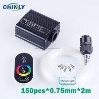 Nuevo 16W RGB Touch remoto LED fibra óptica luz estrella techo Kit luces 150 Uds 0,75mm 2M fibra óptica coche techo Starry luces