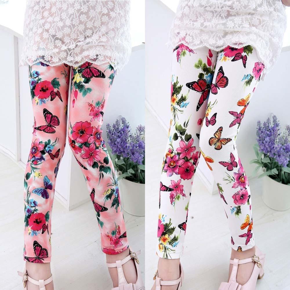 Multi Color Girls Pants Flower Printing Toddler Classic Leggings Girl Leggings Fashion Childrens Clothing Skinny Kids Leggings