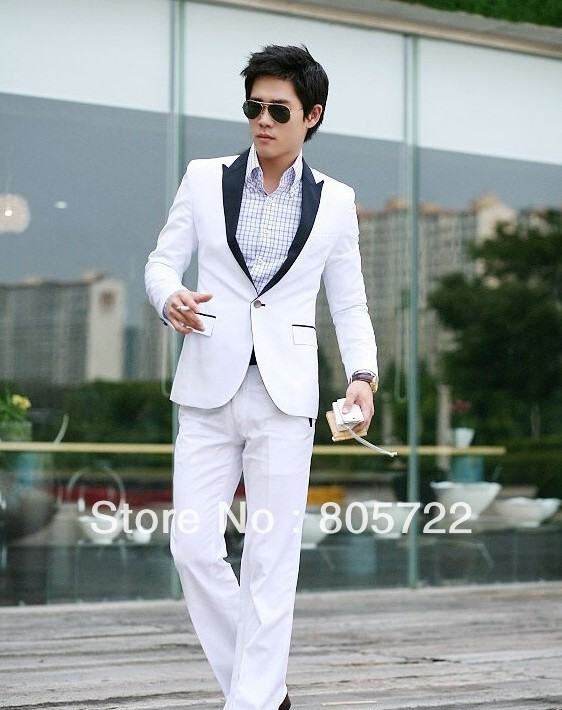 Aliexpress.com : Buy custom made white suit black lapel jacket  ...