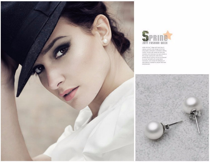 High quality round pearl earrings Ms. nightclubs popular fashion color retention hypoallergenic jewelry factory wholesale 1
