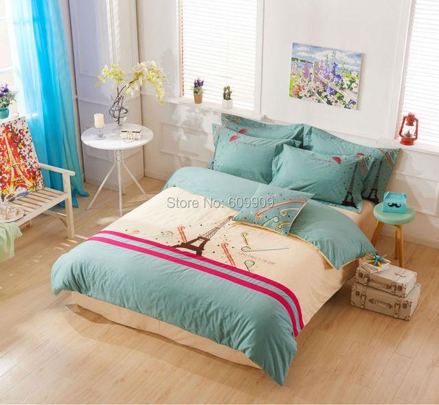 Paris Eiffel Tower Bedding Set Double Full Eiffel Tower Bed Sheets Girls  Duvet Cover Set 100