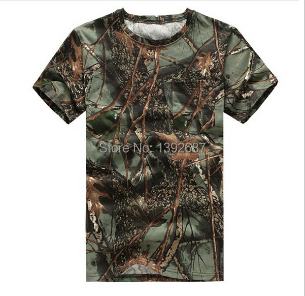 New men s outdoor camouflage T shirt summer loose round neck short sleeve for font b