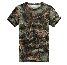 New men's outdoor camouflage T-shirt summer loose round neck short sleeve for hunting and fishing