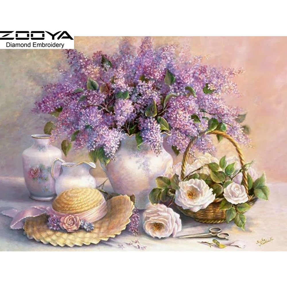 New 3D DIY Round Full Diamond Painting Cross Stitch Embroidery Purple Lilac Floral Rhinestone Crystal Drill Needlework Kit CJ52