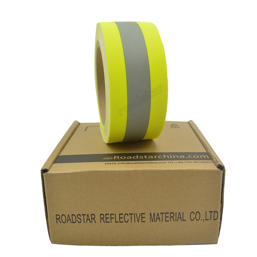 Купить с кэшбэком 5cm width Reflective Flame Retardatn Tape with Yellow Silver and 100% Cotton Backing for Glove Free shipping