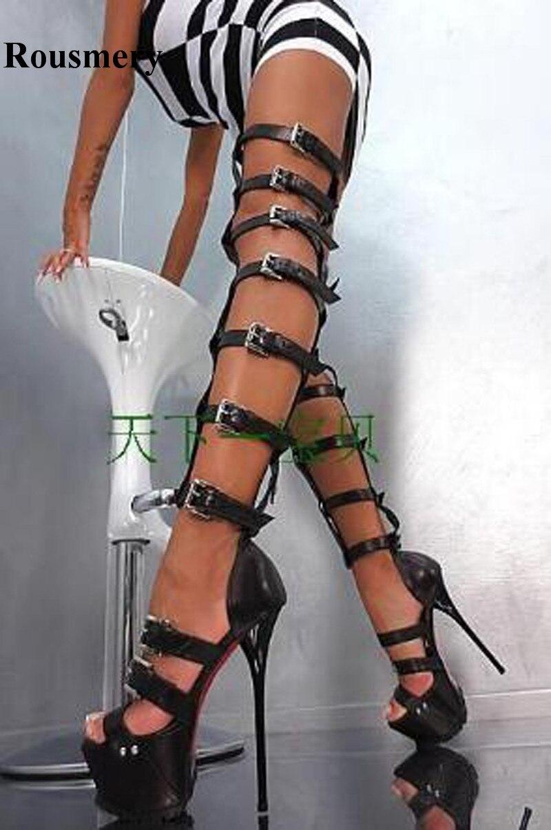 Femmes Sexy Nouvelle Mode À Bout Ouvert Sangles Style Sur le Genou haute Plate-Forme Gladiateur Bottes Noir Blanc En Cuir Verni Longue Sandale Boot