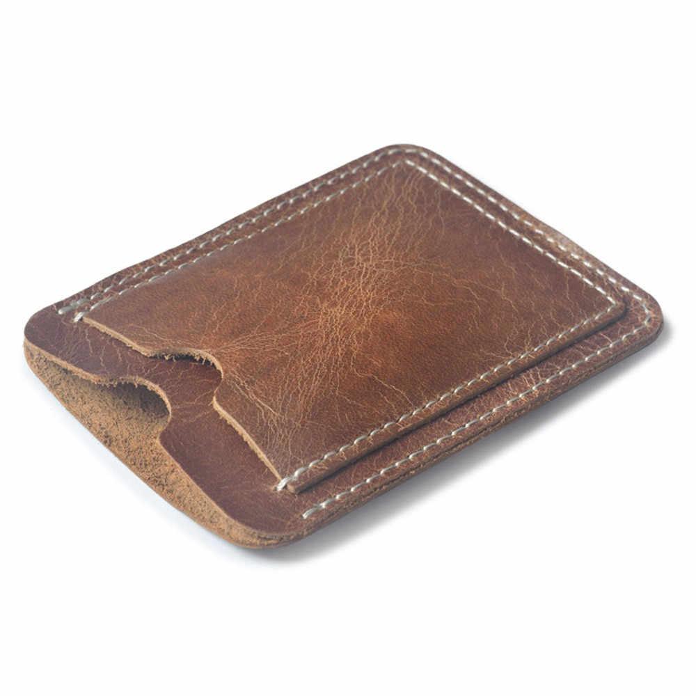 寝台 #501 2019 ブラウンカードホルダースリムクレジットカード ID カードホルダーケースバッグ財布ホルダーファッションシンプルなデザイン送料無料