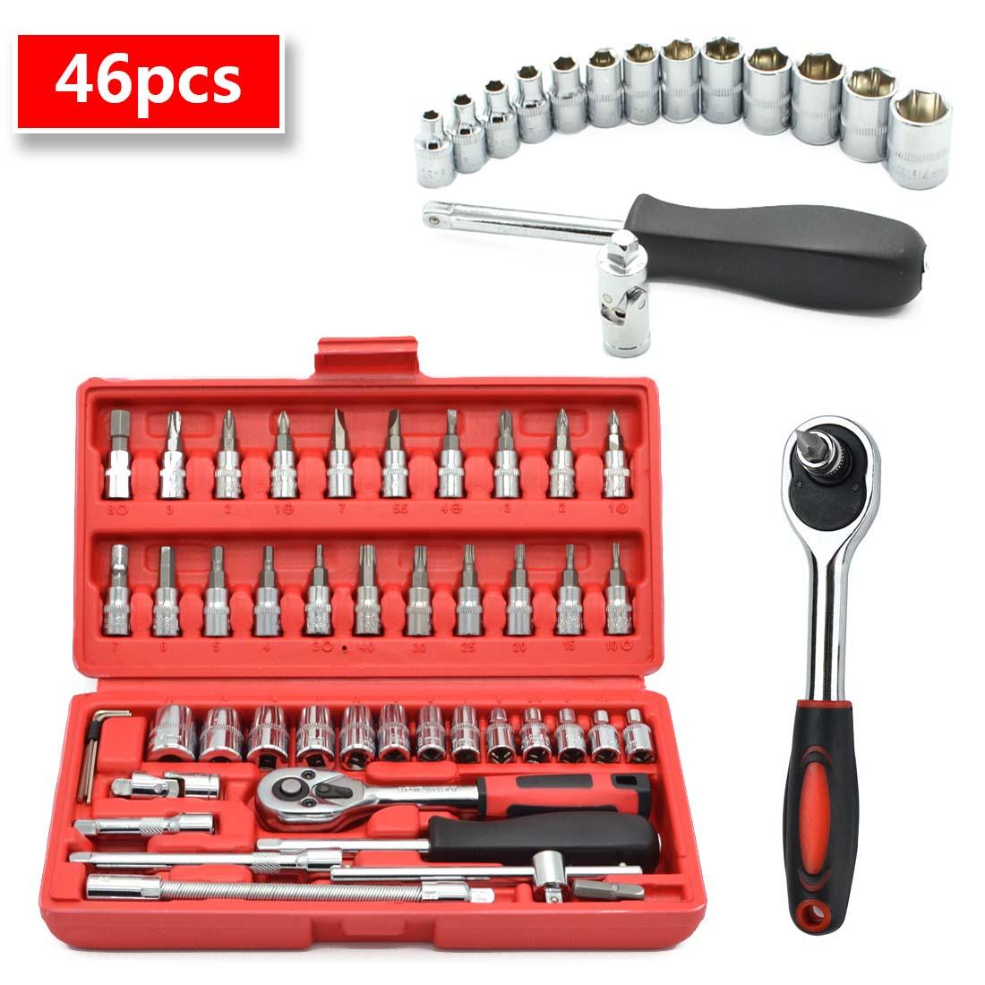 1/4-Inch Socket Set Car Repair Tool Ratchet Set Torque Wrench Combination Bit Set Of Keys Chrome Vanadium 46pcs/set