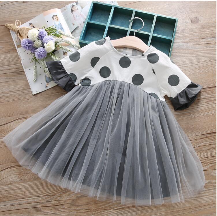 YGPF703636 2017 Fashion Baby Girls Dress Patchwork Lace Summer Dress Girls Dress Flare Sleeve Patchwork Ball