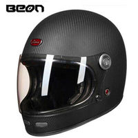 BEON Helmet Full Face Carbonfiber Motocross Helmet Vintage Fully Covered Motorcycle Scooter Autocycle Retro Ultralight ECE