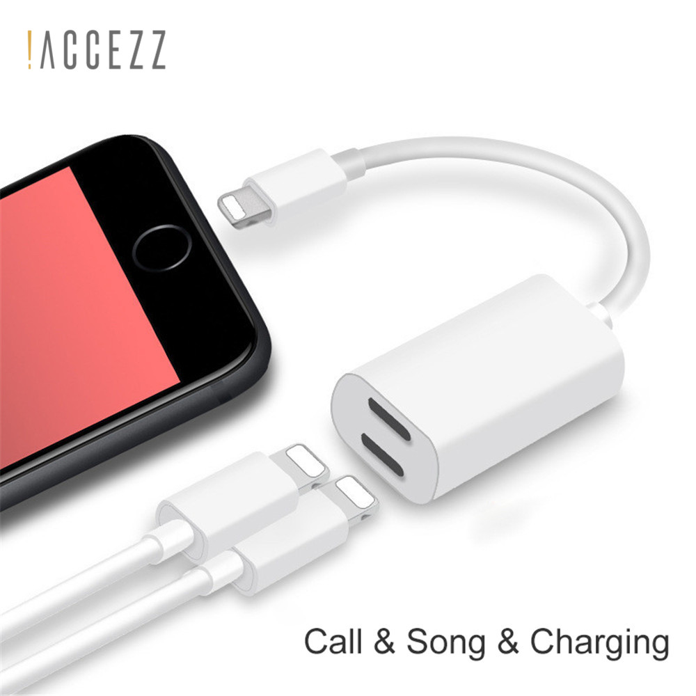 !ACCEZZ 2 In 1 Dual Charging Lighting Adapter For Apple Iphone Audio For IPhone X 7 8 Plus Splitter Earphone Aux Cable Converter