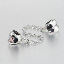 Auténtica plata de ley 925 Adapta pulseras Pandora Minnie corazón encantos de Plata Perlas cadena de seguridad Original al por mayor DIY
