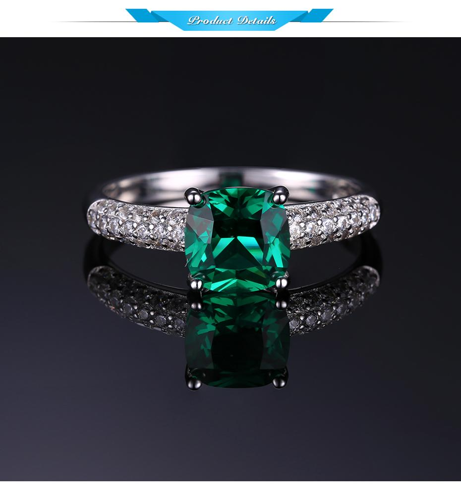 925 Sterling Silver Nano Emerald Solitaire Engagement Ring