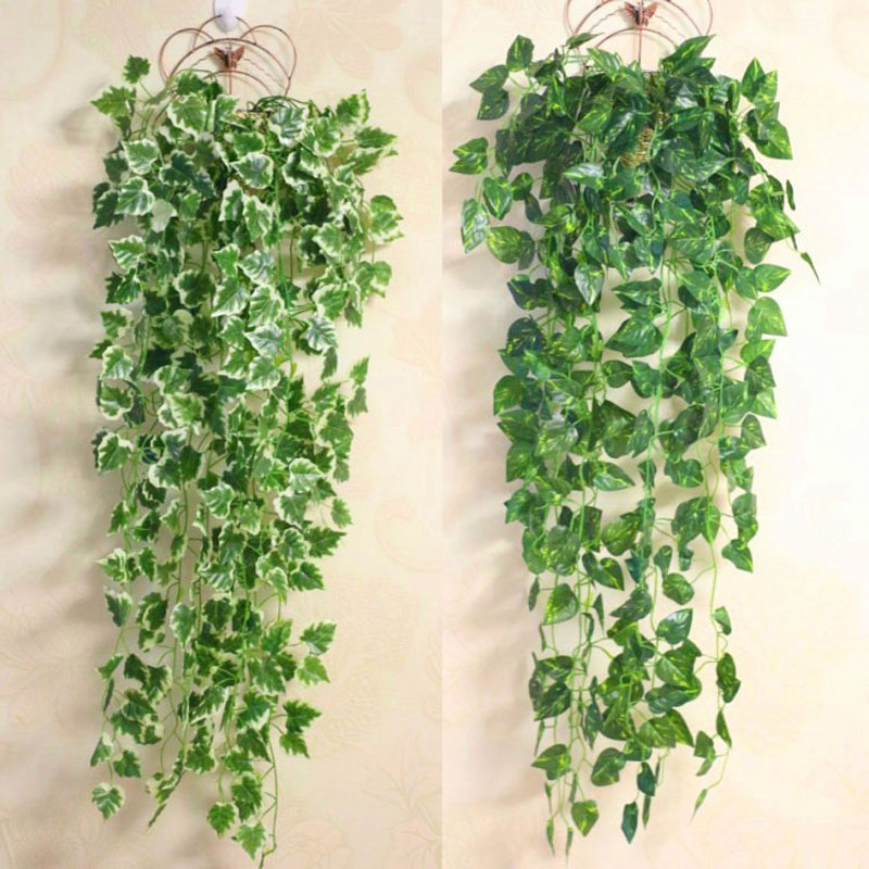 Popular Home Decor Green Plant Ivy Leaf Artificial Flower Plastic Garland Vine
