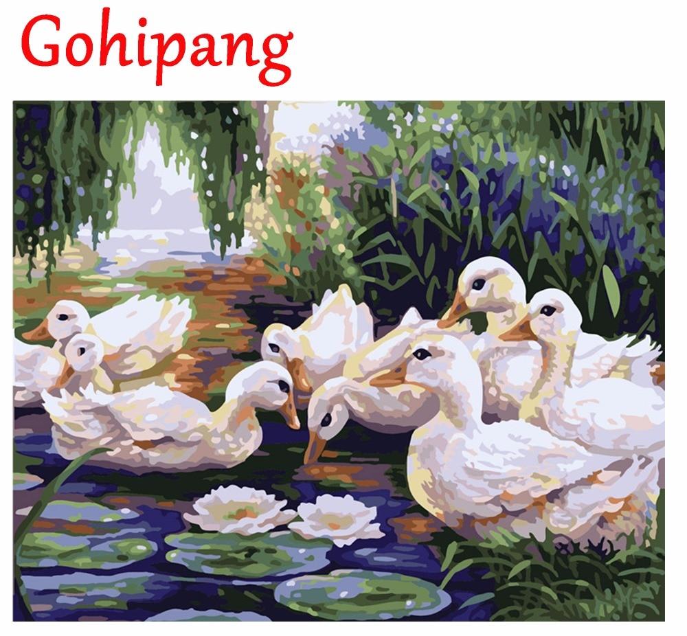 Menggambar Lukisan Dengan Angka Sekelompok Bebek DIY Minyak