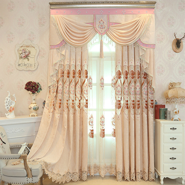 New Pink Curtains For Living Dining Room Wedding Bedroom Chenille Embroidered Curtain Valance