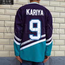 Mighty Ducks Filme Ice Hockey Jerseys #9 MeiLunNa Paul Kariya Jersey 0901 Branco Roxo Verde Azul(China)