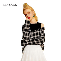 ELF SACK Autumn Off-Shoulder Blouses Sexy Womens Tops 2017 Asymmetric Plaid Blouse Ladies Loose Fake Two Piece Office Shirts