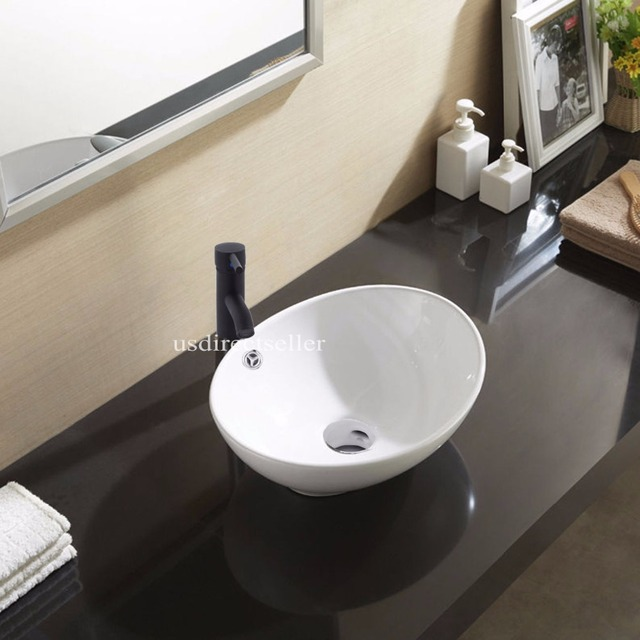 Oval Bathroom Ceramic Counter Top Wash Basin Sink Washing