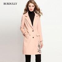 BURDULLY зимнее пальто Для женщин теплая хлопковая стеганая Шерстяное пальто отложной воротник Длинные Для женщин кашемир Однобортный пальто,