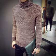 2015 New Arrival Solid Sweater Men Casual Knitted Sweaters Mens Turtleneck Long Sleeve Pullovers Blusa Masculina M-XXL H6088