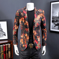 Europe and the United States men's new autumn 2017 Fashionable flower printed velvet suit coat of cultivate one's morality