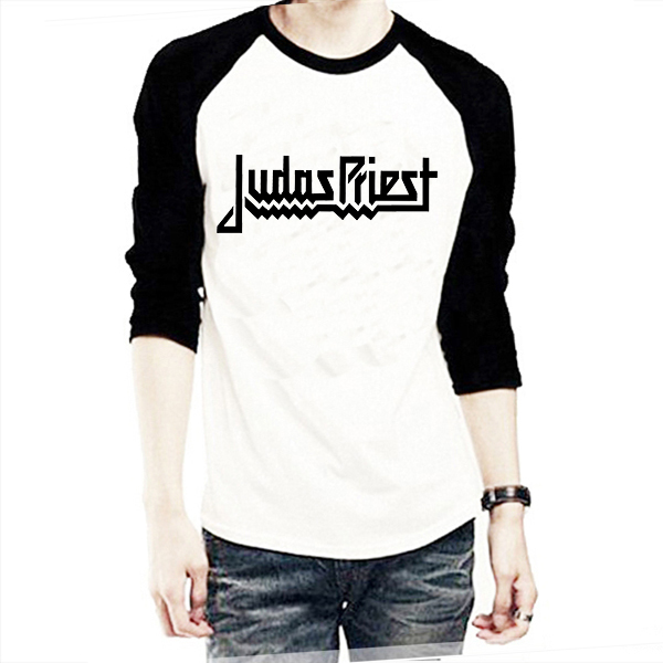 Judas Priest Logo Print Men T Shirts Male Raglan Long Sleeve T ...