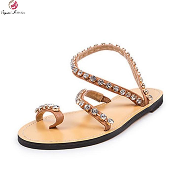цена Original Intention Fashion Women Sandals Rhinestone Open Toe High-quality Flat Heels Sandals Brown Shoes Woman Plus US Size 4-15 онлайн в 2017 году