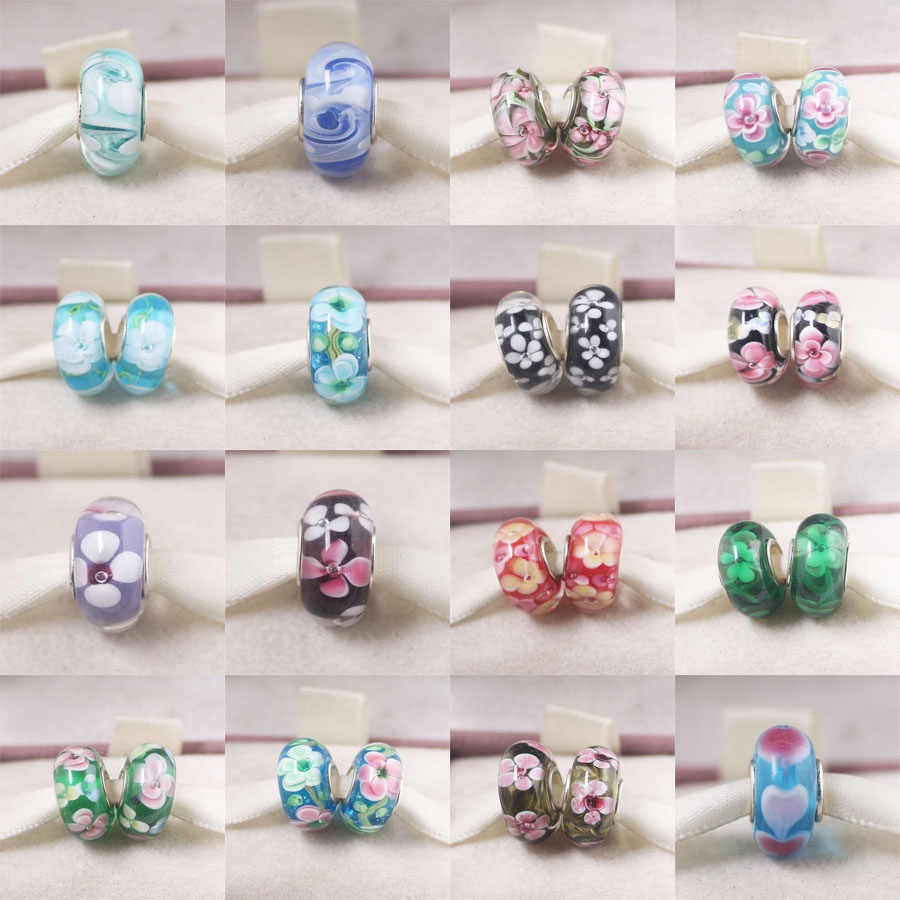 Free Shipping 1pc Europe Silver Murano colorful flower glass colorful bead charms fit Original Pandora Bracelet Jewelry DIY N105