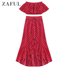 ZAFUL Polka Dot Ruffle Vintage Maxi Dress Flounce Crop Top Summer Strapless Dress Elegant Two Piece Women Set Female Sexy Dress dot print ruffle crop top
