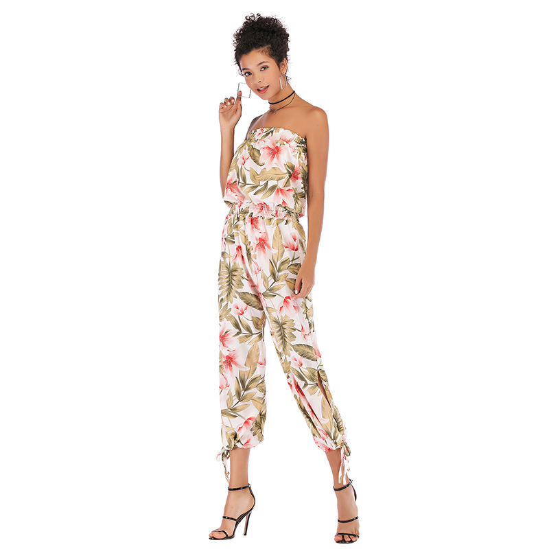 Plus Size 2019 Summer Slash Neck Bodysuit Women Chiffon Sexy Bodysuit Backless Print Floral Bodysuit Jumpsuit Overalls in Jumpsuits from Women 39 s Clothing
