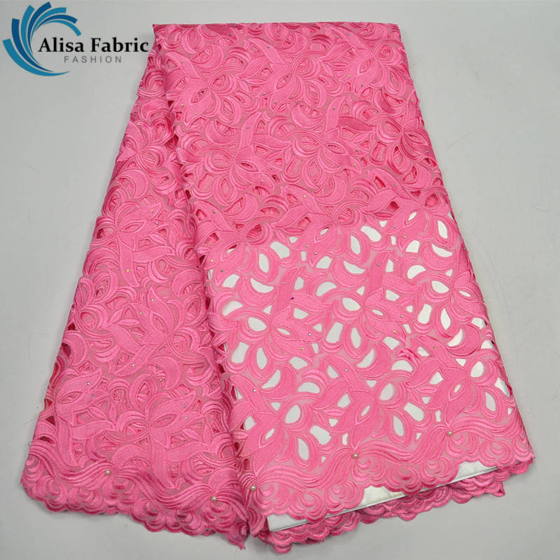 High Quality African Lace Fabrics pink 2017 New style French Mesh Laces cotton Jacquard weave Hot drilling swiss Laces Fabric