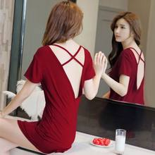 6c311ab4f43839e Женские ночные рубашки, летняя одежда для сна, повседневные ночные платья с  вырезом на спине