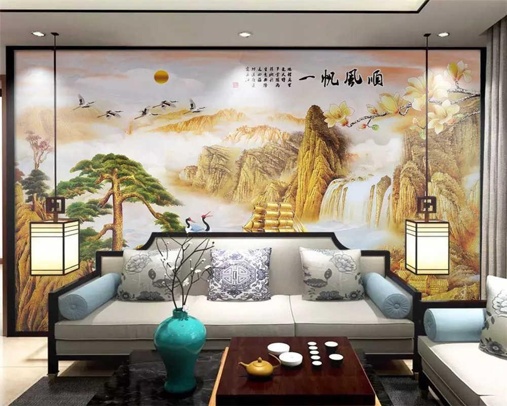 Beibehang индивидуальные 2019 экологически чистый роскошный китайский мраморный Золотой пейзаж диван фон обои
