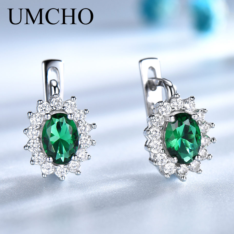 UMCHO Solid 925 Sterling Silver Green Emerald Blue Sapphire Gemstone Clip Earrings For Women Wedding Jewelry Wedding Diana New