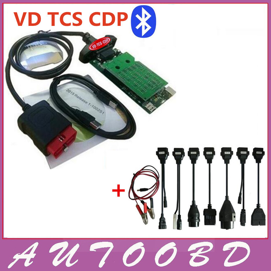 Old Type New Vci Green PCB 8.0 N-ec relays VD TCS CDP CDP With Full set adapters Auto obd obd2 scanner+ 8pcs car cable Freeship
