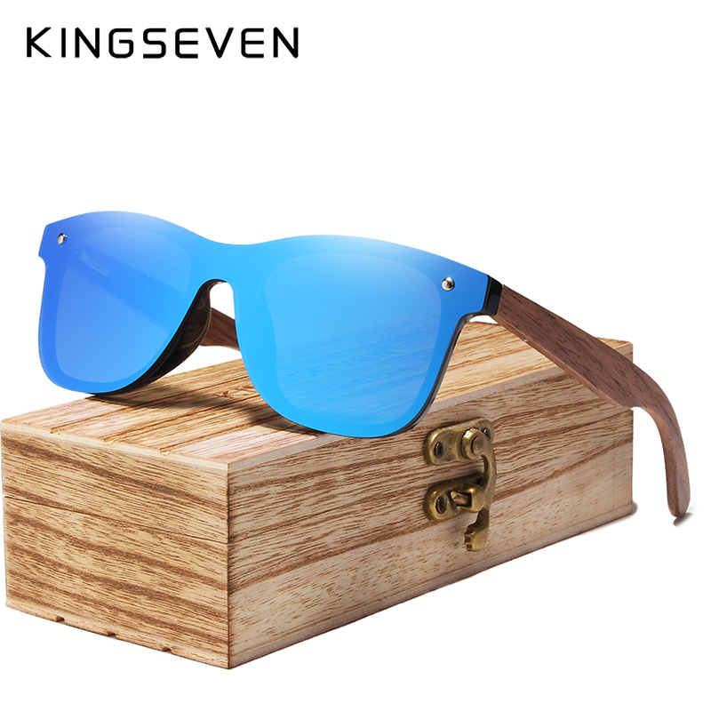 KINGSEVEN 2020 Mens Sunglasses Polarized Walnut Wood Mirror Lens Sun Glasses Women Brand Design Colorful Shades Handmade 7
