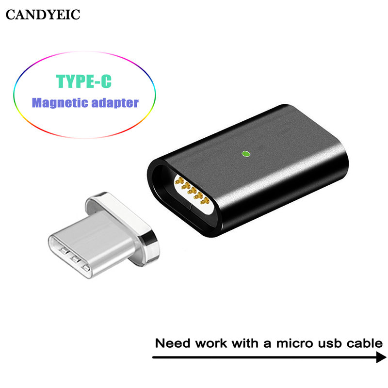 CANDYEIC USB Type C Magnetic Adapter For Samsung S8 Plus Note8 C9pro C7pro S9 C5pro A3 A5 A7 2017 LG G6 G5 V20 Nexus 5X Adapter
