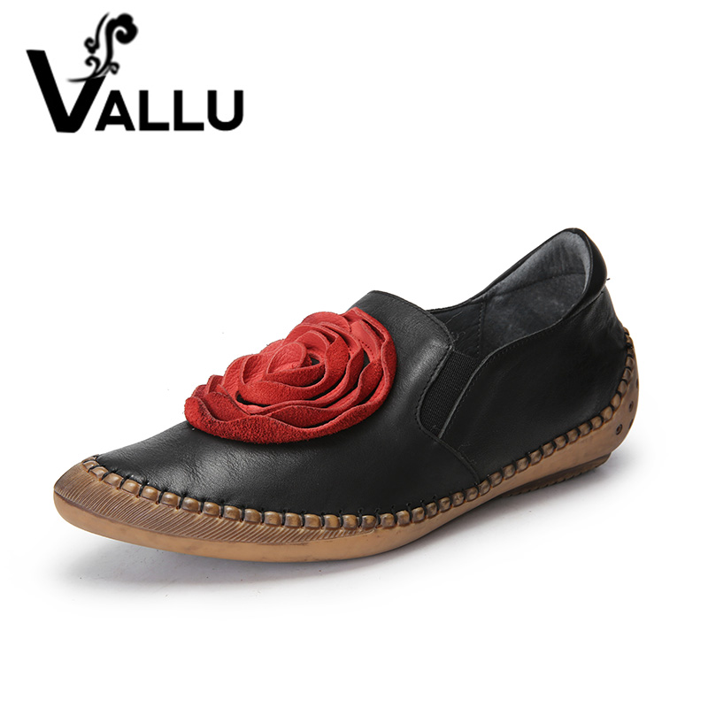 2018 VALLU Handmade Shoes Women Flats Genuine Leather Red Flower Pointed Toes Silp On Women Loafers vallu spring summer women flats genuine leather pointed toes handmade original shoes basic women ballerina slip on flat shoes