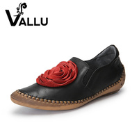 2017 VALLU Handmade Shoes Women Flats Genuine Leather Big Red Flower Pointed Toes Silp On Women