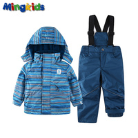Mingkids Snowsuit Boy Ski set Outdoor Winter spring autumn Warm Snow Suit hooded waterproof windproof European Size stripe