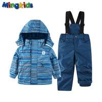 Mingkids Snowsuit Boy Ski Set Outdoor Winter Spring Autumn Warm Snow Suit Hooded Waterproof Windproof European